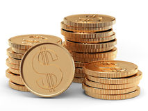 Heap of coins. Stack of coins on white background Royalty Free Stock Image