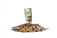 Heap of coins and banknote Stock Photography