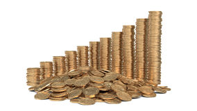 Heap of coins with diagram. Of golden coins Royalty Free Stock Photography