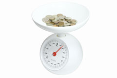 Heap of the coins  on  a kitchen scales Royalty Free Stock Photography