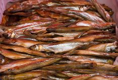 Cold smoked fish smelt, food industry. A heap of cold smoked smelt fish for sale at a local farmer`s market Stock Photos