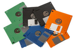 Heap of color floppy disks Royalty Free Stock Images