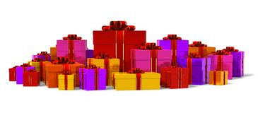 Heap of color gift boxes. Isolated on white background Royalty Free Stock Photo