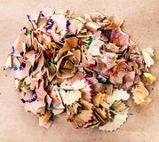 Heap of Color pencil shaves  isolated on brown recycled paper Stock Images
