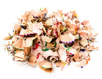 Heap of Color pencil shaves  isolated on white background Royalty Free Stock Image