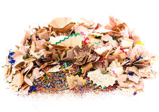 Heap of Color pencil shaves  isolated on white Stock Image