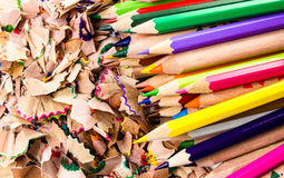 Heap of Color pencil shaves  isolated on white background. Back Royalty Free Stock Photos