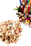 Heap of Color pencil shaves  isolated on white Stock Photo