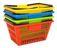 Heap of colored shopping basket, 3D rendering. Isolated on white background stock illustration