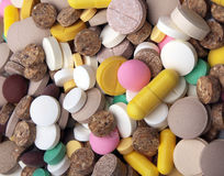 Heap of colored tablets Royalty Free Stock Photography