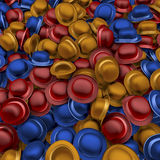Heap of colorful bowler hats. Pool, piles, heap of colorful bowler hats, red, blue, yellow, 3d rendering Royalty Free Stock Photography