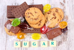 Heap of colorful candies and cookies, too many sweets Royalty Free Stock Photography
