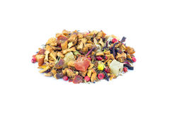 Heap of colorful loose hot pineapple tea on white Royalty Free Stock Photography