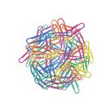 Heap of colorful paper clips in different colors red, green, blue, pink or orange isolated on white background. Design element for. Office or school supplies vector illustration