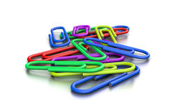 Heap of Colorful Paperclips. Heap of Untidy Colorful Paperclips on White Background 3D Illustration vector illustration