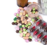 Heap of colorful pills Royalty Free Stock Images