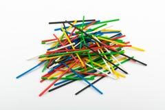 Heap of Colorful Plastic Math Sticks for Learning Mathematic. Heap of colorful plastic math stick for learning mathematic in primary school or counting sticks stock photos