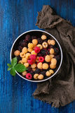 Heap of colorful raspberries Royalty Free Stock Photography