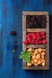 Heap of colorful raspberries Royalty Free Stock Photo