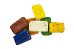 Heap of colorful wax crayon Royalty Free Stock Images