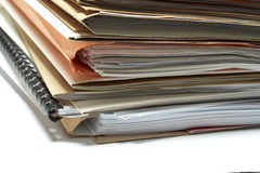 Heap of coloured files. White background stock photo
