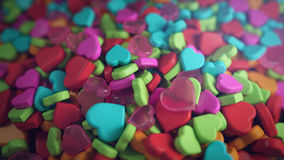 Heap of Colourful Heart Shape 3D Rendering Stock Photos