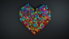 Heap of Colourful Heart Shape with Empty Space for Text Black Ba Royalty Free Stock Images