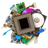 Heap of computer hardware. Isolated on white stock photos
