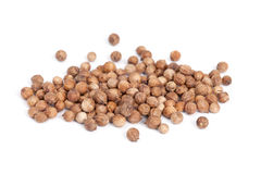 Heap Coriander Seeds  on white back Stock Photography