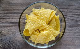 Heap of corn chips in the glass bowl on the wooden background Stock Photography