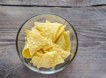 Heap of corn chips in the glass bowl on the wooden background Royalty Free Stock Photo