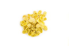 Heap of corn flakes isolated on white background Royalty Free Stock Photo