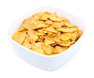 Heap of cornflakes isolated on white Royalty Free Stock Photos