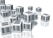 Heap of cubes with barcodes Stock Image