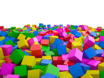 Heap of cubes, 3D Royalty Free Stock Images