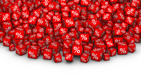 A heap of cubes percent symbol. Big Sales or special offers 3D illustration. A heap of red cubes with percent symbol Stock Photos