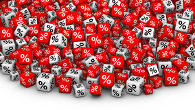 A heap of cubes percent symbol. Big Sales or special offers 3D illustration. A heap of red and white cubes with percent symbol Royalty Free Stock Photos