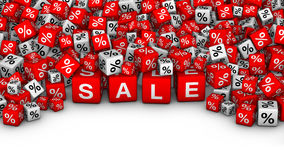 A heap of cubes with SALE word and percent symbol. Big Sales or special offers 3D illustration. A heap of cubes with SALE word and percent symbol Stock Photo