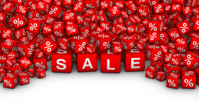 A heap of cubes with SALE word and percent symbol. Big Sales or special offers 3D illustration. A heap of cubes with SALE word and percent symbol Royalty Free Stock Photos