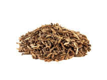 Heap of cumin seeds isolated on white background Stock Photo