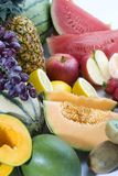A heap of cut tropical fruits Royalty Free Stock Photo