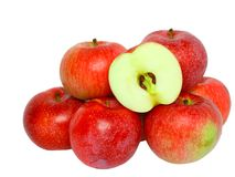 Heap cutting of ripe, red apples. Stock Image