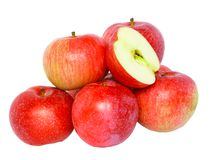 Heap cutting of ripe, red apples. Isolated. Stock Photo