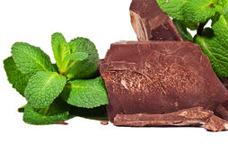 Heap of delicious black chocolate with mint closeup Stock Image