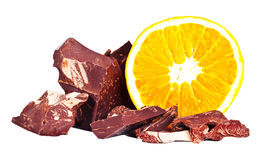 Heap of delicious black chocolate with orange Royalty Free Stock Image