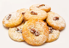 Heap of delicious cookies icing sugar with walnut isolated Royalty Free Stock Photography