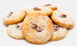 Heap of delicious cookies icing sugar with walnut  Stock Image