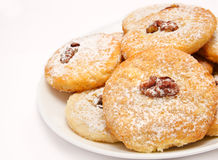 Heap of delicious cookies on a plate isolated Stock Photo