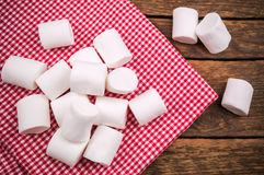Heap of delicious marshmallow. On red napkin Stock Photography