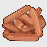 Heap of delicious sausages, vector icon food Stock Photography
